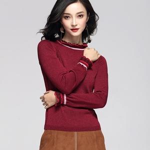 2017新款秋季女装立领荷叶边修身套头毛衣打底针织衫1JY3031900打底衫女