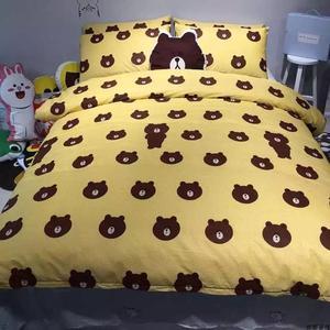韩式可爱熊小兔子卡通四件套儿童女大学生单人宿舍床上下铺三件套单人四件套
