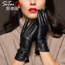 Imported leather gloves ladies in autumn and winter, Ping Shan goat skin, velvet, warmth, bow, thin skin, gloves, women gloves.