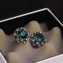 European, American and Korean luxurious high-grade retro temperament diamond crystal earrings earrings and accessories for ladies temperament Earrings