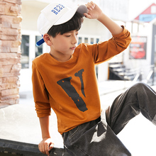 Boys'Spring Garment New Long Sleeve T-shirt for Boys in 2019 Boys' Boys'Boys' Bottom Shirt with Cotton Round Collar T-shirt