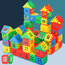 Building block toys 3-6 year old large plastic house assembled into girls, boys and babies, puzzle 1-2 year old children's toys