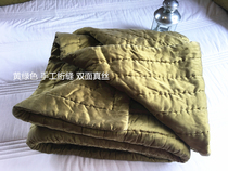 Foreign trade original p-double-sided soft yellow-green silk hand-quilted bed cover 1.5 m-1.8 m bed