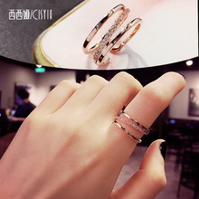 Cecia opens her mouth, fashion, simple index finger ring, female ins fashion, single ring, Korean version, online red and cold