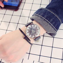 Another chic men's watch waterproof real belt double-sided hollow non mechanical female student quartz couple wristwatch