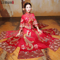 Show Wo clothing summer 2017 new toast clothing Phoenix Chinese dress cheongsam slim dress bride gown with short sleeves