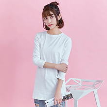 Medium length long sleeve bamboo pure cotton Korean white side split spring and autumn T-shirt