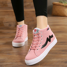 Spring and autumn leather lace up casual flat sports pink women's shoes