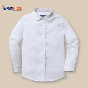 童装新款女童白色衬衫长袖纯棉儿童白衬衣春秋款大童学生表演出服儿童衬衫
