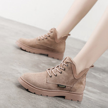 Single boots 2019 autumn new women's shoes Korean style all-around flat bottomed Martin boots fashion British style handsome short boots