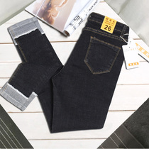 Hole in the spring and summer black tall waist skinny jeans