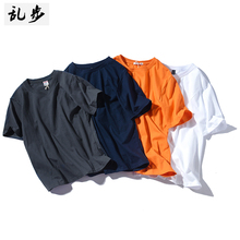 Fashion brand solid color short sleeve cotton youth t-shirt