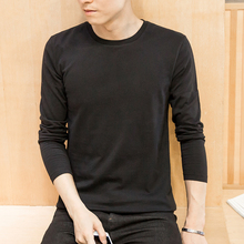 Solid color cotton Korean slim round neck white black base coat