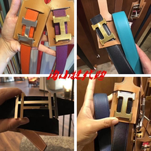 Genuine Hermes/Hermes Belt Classic H-Button Men's Double-sided Genuine Leather Belt and Women's 18 New Words