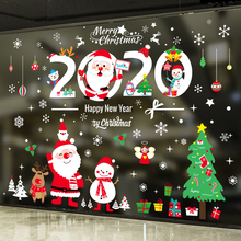 New year's Day Christmas decorations window glass door stickers shop celebration scene Decoration Santa Claus Pendant