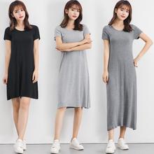 Modal's loose, medium length, slim and versatile black dress