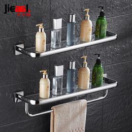 毛巾架卫生间置物架浴室挂件卫浴洗漱台304不锈钢玻璃卫生间壁挂