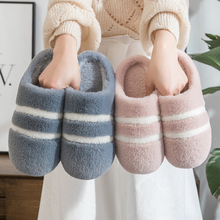 Cotton slippers for female indoor couples warm thick bottom non slip household Plush bag for winter and men's autumn and winter