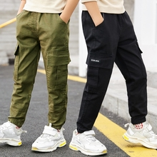 Children's overalls, boys' overalls, autumn and winter 2019 new plush children's pants, loose casual middle and big children's pants, Korean version