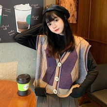 Fall and winter wear loose ringed V-neck cardigan sleeveless sweater