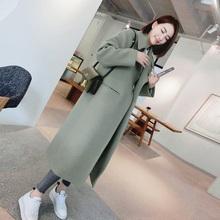 Korean black worsted cocoon type medium length over knee woolen coat