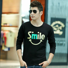 Pure cotton round neck print personalized slim autumn bottoming shirt