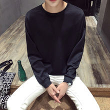 Autumn and winter trend round neck space cotton sleeve head solid color long sleeve T-shirt