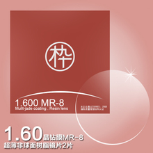 Wood ninety special product 1.60 refractive index green film MR-8 ultra-thin aspheric resin lens pair
