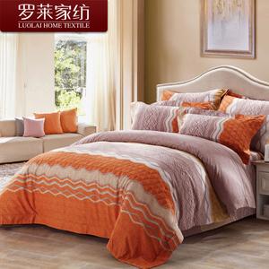 罗莱家纺全棉被套磨毛床上四件套件纯棉床上用品被罩床品四件套