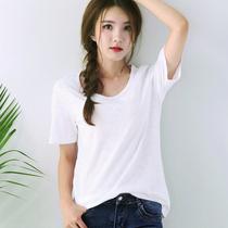 Angel Lee cotton white slim Joker Korean base shirt