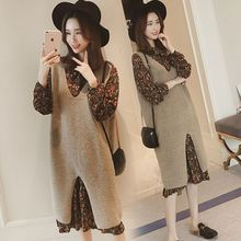 Chao Ma, pregnant woman, fashion Korean, loose knitted wool dress.