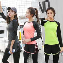 Autumn loose sports Yoga Fitness suit long sleeve large long sleeve breathable thin running women's quick drying T-shirt autumn
