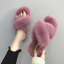 Slippers women 2019 autumn new fashion, wear Mao Mao shoes, Korean version of winter pregnancy chic cotton towing