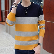 Autumn round neck stripe knitted sweater