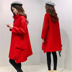 毛呢外套女2017秋冬女装韩版新款宽松中长款红色茧型羊毛呢子大衣秋冬女装