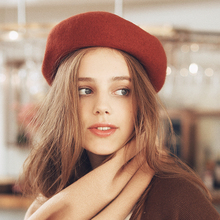 AI French retro Beret wool content up to 90% autumn winter female painter hat hat pumpkin hat