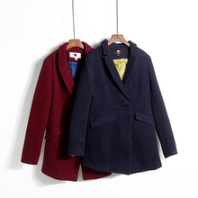 Autumn and winter Korean two button loose thin solid coat