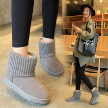 Winter frosted new wool mouth snow boots women's flat bottom short boots