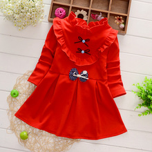 Girl's dress in spring and autumn 2019 new Korean version girl's princess skirt with wooden ears and long sleeves