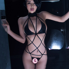 Rope tie nightclub lacquered leather sexy underwear tempting three-point one-piece