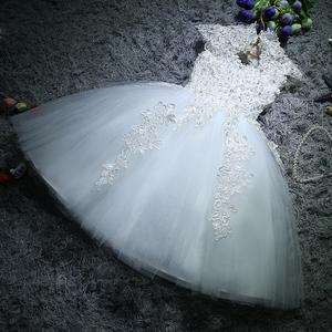 儿童礼服公主蓬蓬裙花童女童婚纱生日钢琴主持演出服晚礼服白色冬儿童礼服