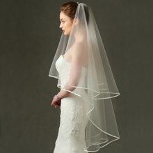 Zhang Xinyu married Korean style wedding veil, double long shaded face, ancient satin, hemming veil, bride.