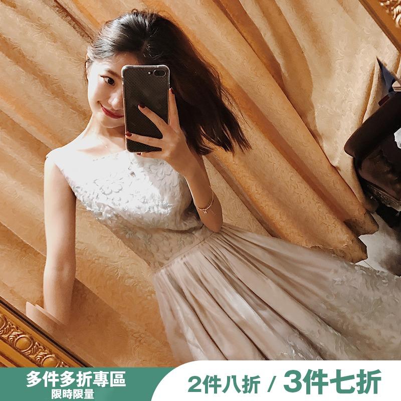 大喜自制连衣裙女夏2019新款显瘦时尚气质复古无袖方领刺绣裙子