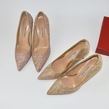 New sexy pointed thin heel light Sequin gold stage high heels