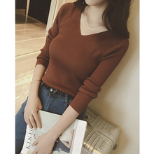 Autumn and winter 2019 new V-neck knitwear slim long sleeve tight bottoming shirt show thin sleeve with sweater inside