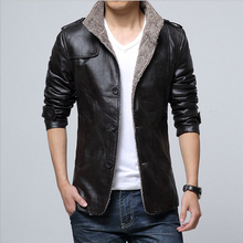 Autumn and winter fur business suit thickened slim leather jacket