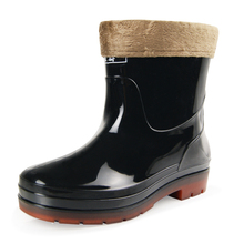 Three resistant black low barrel and cotton four season removable waterproof rain shoes