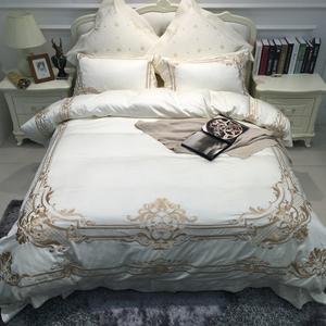 法式宫廷刺绣80贡缎全棉四件套1.8m纯棉被套床单床上用品别墅家纺四件套