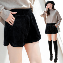Autumn and winter new Korean high waisted A-line wool outside show thin shorts