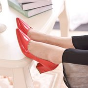 2014 Four Seasons European big new red wedding shoes patent leather square with thick with pointed shoes with shallow mouth single shoes